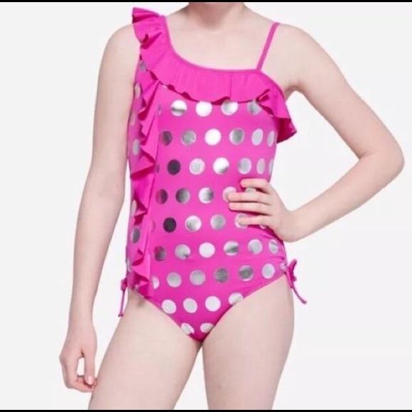 NWT JUSTICE GIRLS Purple Polka Dot ONE PIECE SWIMSUIT Size 12 Swim Wear Suit New